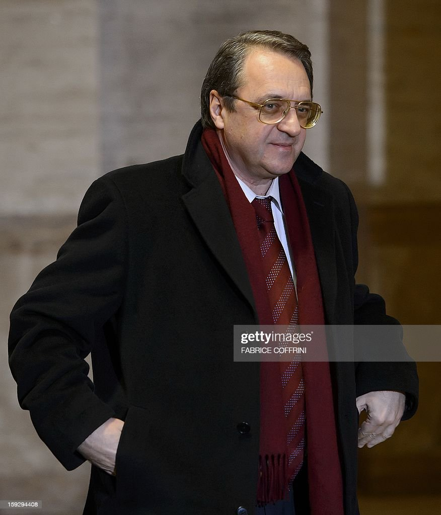Russian Deputy Foreign Minister Mikhail Bogdanov arrives on January 11, 2013 for a meeting at the United Nations office in Geneva. UN peace envoy Lakhdar Brahimi is to meet with Bogdanov and US Undersecretary of State William Burns to discuss ways of ending the 21-month conflict in Syria.
