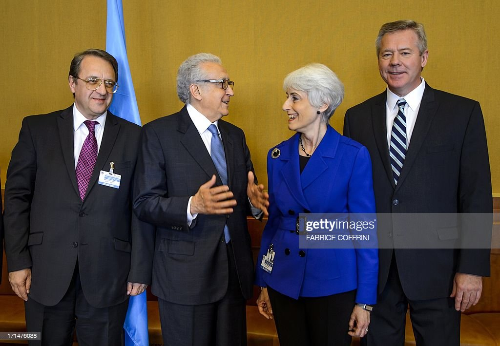 Russian Deputy Foreign Minister Mikhail Bogdanov, UN-Arab League envoy to Syria Lakhdar Brahimi, US Undersecretary of State for Political Affairs Wendy Sherman and Russian Deputy Foreign Minister Gennady Gatilov pose prior to a second meeting on June 25, 2013 at the United Nations (UN) office in Geneva in a bid to organise the conference on Syria. A widely anticipated peace conference for Syria will probably not take place next month as hoped, UN peace envoy to Syria Lakhdar Brahimi said.