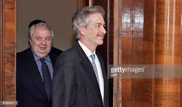 Russian Deputy Foreign Minister Sergey Kislyak and US Under Secretary of State for Political Affairs William Burns walk in prior to give a speech...
