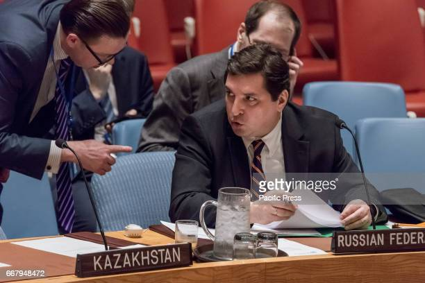 Russian Deputy Permanent Representative for Political Affairs Vladimir Safronkov is seen during the Council meeting The United Nations Security...