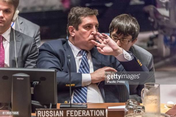 Russian Deputy Permanent Representative to the UN Vladimir Safronkov is seen during a meeting of the United Nations Security Council regarding the...