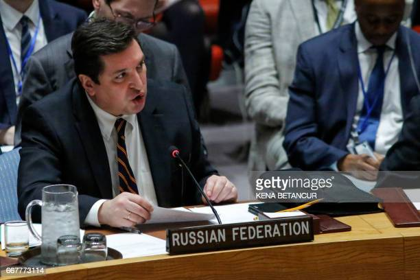 Russian Deputy Permanent Representative to the United Nations Vladimir Safronkov speaks after he voted against a Draft resolution that condemned the...