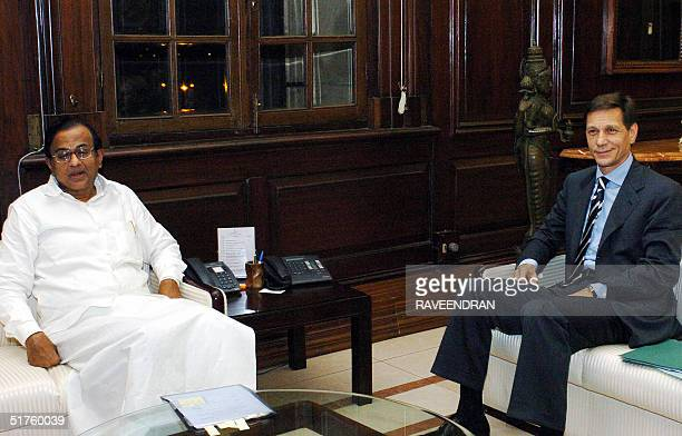 Russian Deputy Prime Minister Alexander D Zhukov meets Indian Finance Minister P Chidambaram during a meeting at the Ministry of Finance in New Delhi...