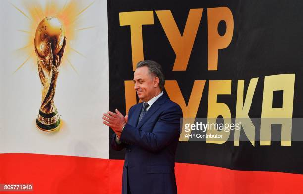 Russian Deputy Prime Minister and LOC chairman Vitaly Mutko attends the FIFA World Cup Trophy Tour Route announcement ceremony at Luzhniki stadium in...