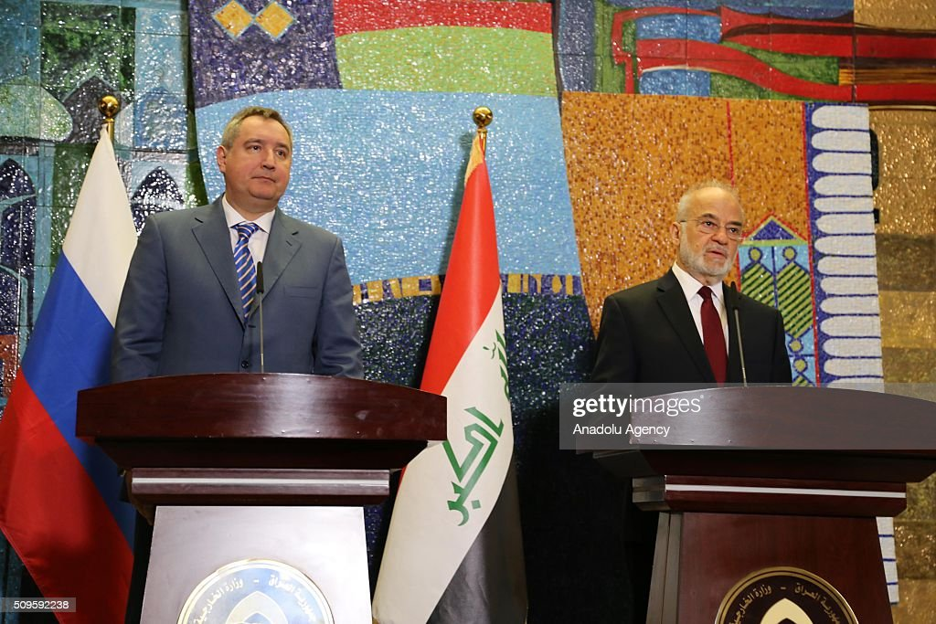 Russian Deputy Prime Minister Dmitry Rogozin (L) and Iraqi Foreign Minister Ibrahim al-Jaafari (R) hold a press conference after they signed protocols on cooperation at the Foreign Ministry in Baghdad, Iraq on February 11, 2016.
