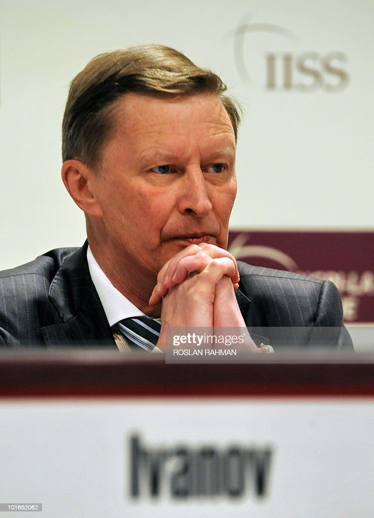 Russian Deputy Prime Minister Sergei Ivanov waits to deliver his speech during the Asia-Pacific security forum in Singapore on June 6, 2010. The annual Shangri-La Dialogue on security wrapped up its meetings today with a speech from Ivanov, among others, focusing on disaster relief and counter-insurgency operations.