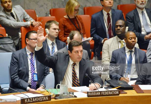 Russian Deputy UN Ambassador Vladimir Safronkov vetoes a Westernled UN Security Council resolution that condemns the alleged use of chemical weapons...