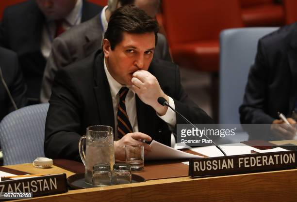 Russian deputy United Nations ambassador Vladimir Safronkov attends a United Nations Security Council meeting on the situation in the Middle East...