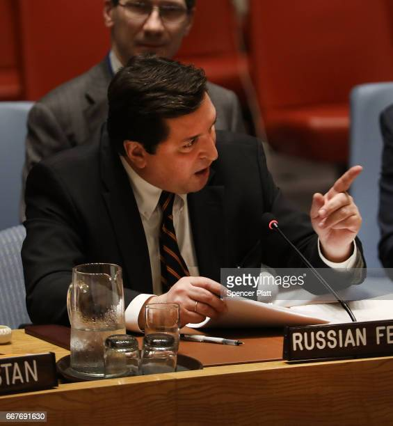 Russian deputy United Nations ambassador Vladimir Safronkov points to US UN Ambassador Nikki Haley while speaking at a meeting on the situation in...