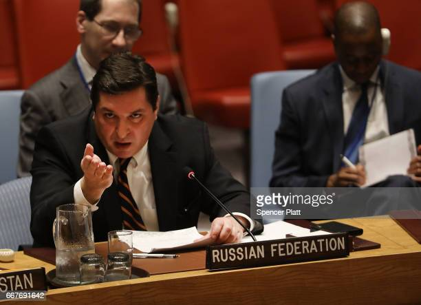 Russian deputy United Nations ambassador Vladimir Safronkov speaks at a meeting on the situation in the Middle East where the ongoing conflict in...