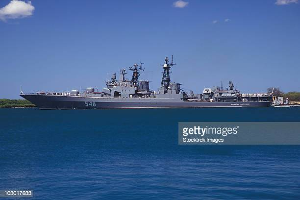 Russian destroyer Admiral Panteleyev transits our of Pearl Harbor, Hawaii.