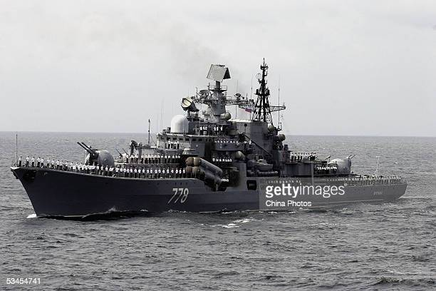 A Russian destroyer takes part in an offshore blockade exercise during the third phase of the SinoRussian 'Peace Mission 2005' joint military...