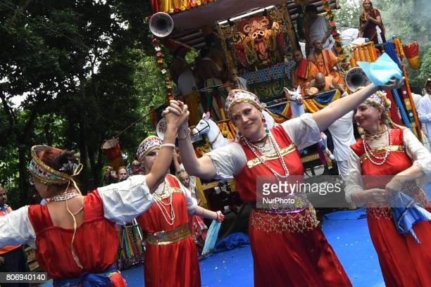 Russian devotees perform Russian flock dances during the ISKON organized 46 th Kolkata Rath Yatra festival on July 032017 in KolkataIndia