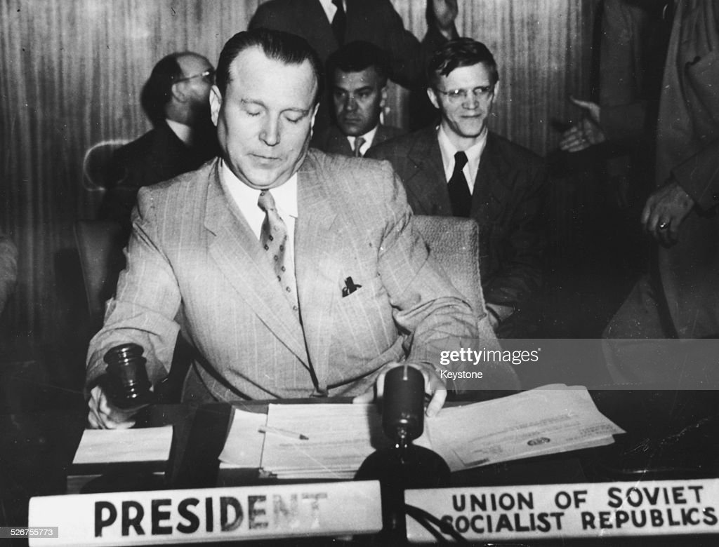Russian diplomat Jacob Malik new Chairman of the Security Council bringing the UN Security Meeting to order August 1950