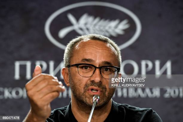 Russian director Andrei Zvyagintsev winner of the Jury Prize for the film 'Loveless' at the 70th edition of the Cannes Film Festival speaks during a...