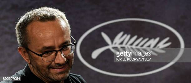 Russian director Andrei Zvyagintsev winner of the Jury Prize for the film 'Loveless' at the 70th edition of the Cannes Film Festival gives a press...