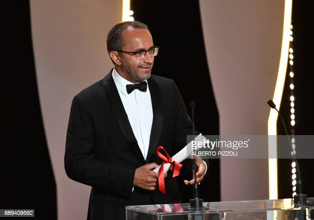 Russian director Andrey Zvyagintsev speaks after being awarded with the Jury Prize for the film 'Loveless' on May 28 2017 during the closing ceremony...