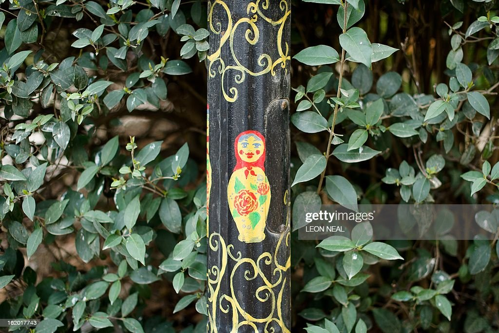 A Russian doll design is shown on a lamppost in Adler in the Sochi district of Russia, on February 18, 2013. With a year to go until the Sochi 2014 Winter Games, construction work and development continues as Olympic tests events and World Championship competitions are underway.