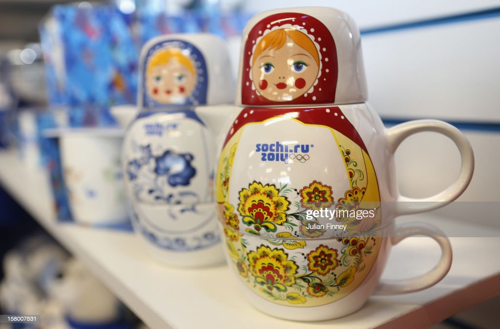 Russian doll's are seen at the merchandise shop during the Grand Prix of Figure Skating Final 2012 at the Iceberg Skating Palace on December 8, 2012 in Sochi, Russia.