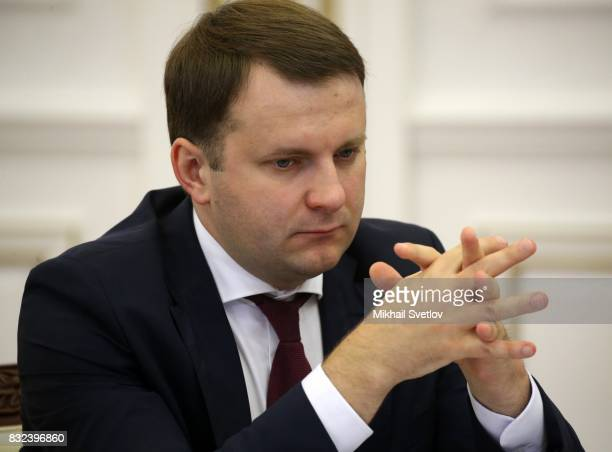 Russian Economic Development Minister Maksim Oreshkin is seenduring the meeting on transport infrastructure development on August 16 2017 in...