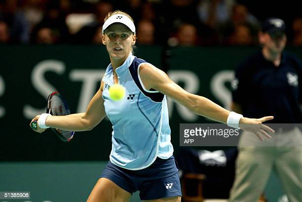 Russian Elena Dementieva hits a forehand to compatriot Elena Bovina during their final match of the Gaz de France Stars tennis tournament in Hasselt...