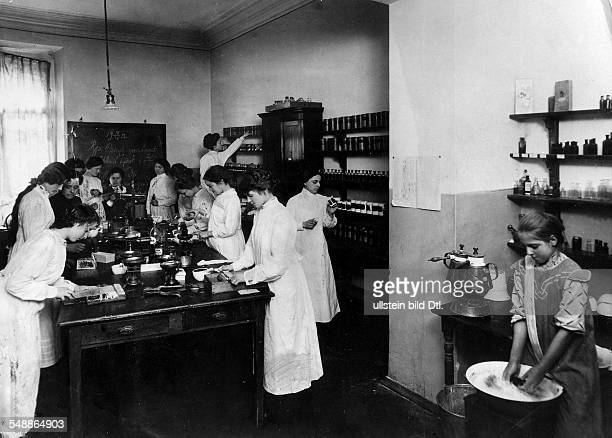 Russian Empire Russia Saint Petersburg Women working at a pharmacy 1912 Photographer Karl Bulla Published by 'Die Praktische Berlinerin' 45/1912...