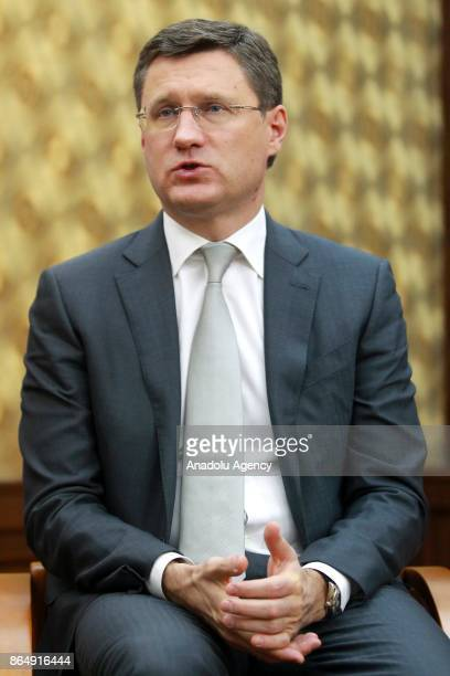 Russian Energy Minister Aleksander Novak speaks during an interview following the 15th TurkishRussian Intergovernmental Joint Economic Commission at...