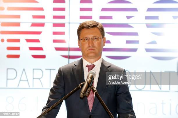 Russian Energy Minister Aleksandr Novak delivers a speech during the opening ceremony of 86th Izmir International Fair at Izmir Kulturpark Exhibition...