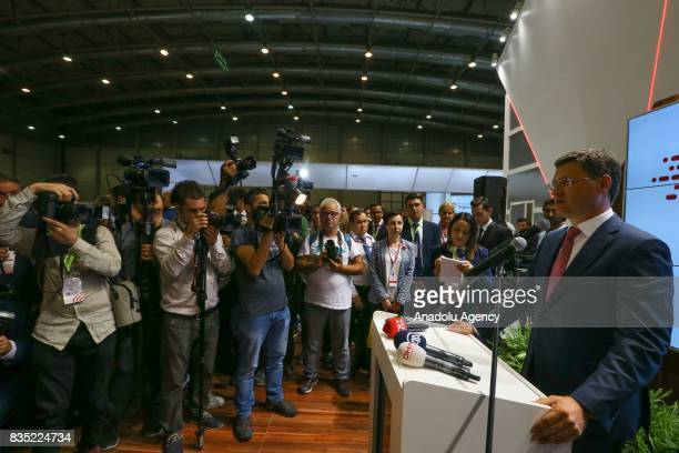Russian Energy Minister Aleksandr Novak delivers a speech the opening ceremony of Russian Federation stand within the 86th Izmir International Fair...