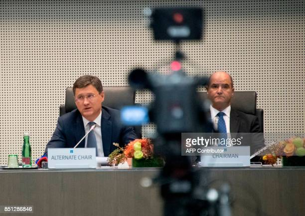 Russian energy minister Alexander Novak and Kuwaiti Oil minister Essam alMarzouk attend the Organization of the Petroleum Exporting Countries meeting...