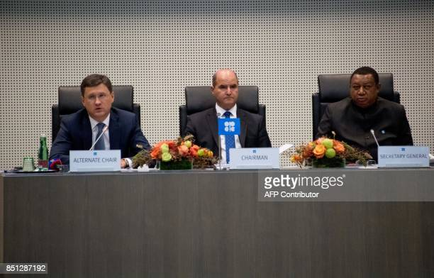 Russian energy minister Alexander Novak and Kuwaiti Oil minister Essam alMarzouk and OPEC Secretary General Mohammed Barkindo of Nigeria attend the...