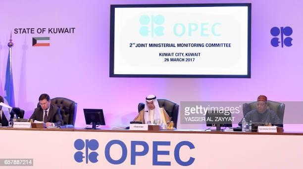 Russian Energy Minister Alexander Novak Kuwait's Oil Minister Essam alMarzouq and OPEC secretary general Mohammad Sanusi Barkindo attend a meeting...