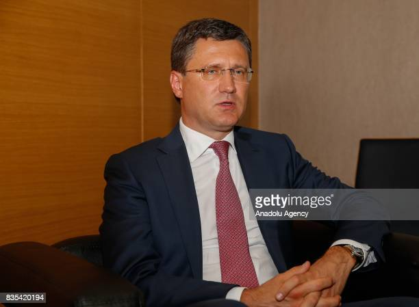 Russian Energy Minister Alexander Novak speaks during an exclusive interview in Izmir Turkey on August 18 2017