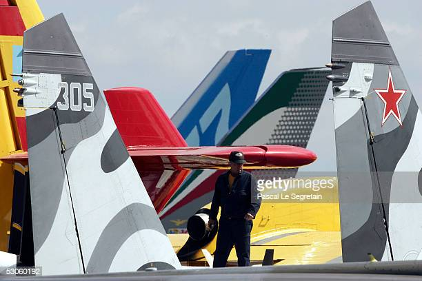 Russian engineer is seen on the Russian Sukhoi fighter June 13 2005 in Le Bourget France The main attraction of the airshow will be an airdisplay by...