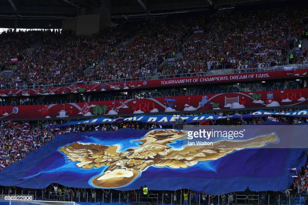 Russian fans show their support prior to the FIFA Confederations Cup Russia 2017 Group A match between Russia and New Zealand at Saint Petersburg...