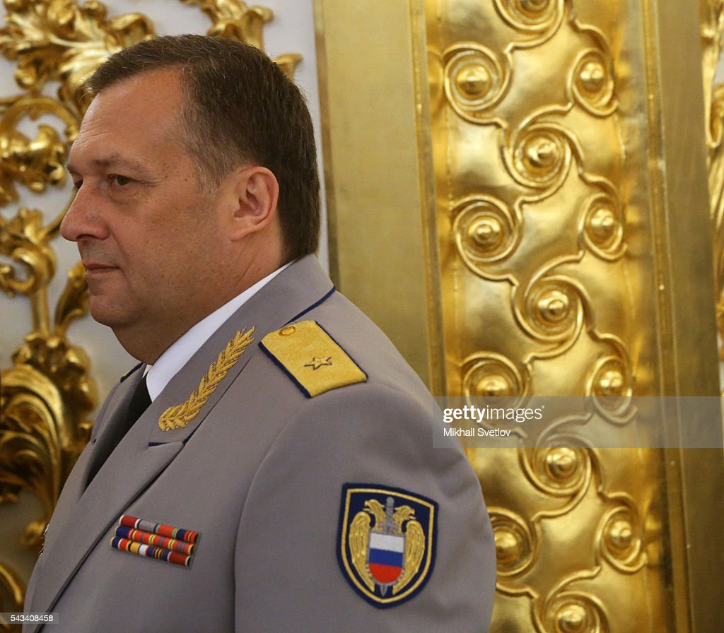 Russian Federal Guard Service (FSO) Chief Dmitry Kochnev attends the reception for graduates of military academies and universtities at the Grand Kremlin Palace on June 28, 2016 in Moscow, Russia.