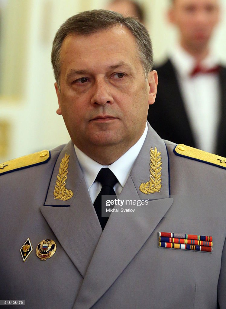Russian Federal Guard Service (FSO) Chief Dmitry Kochnev is attend the reception for graduates of military academies and universtities at the Grand Kremlin Palace on June 28, 2016 in Moscow, Russia.