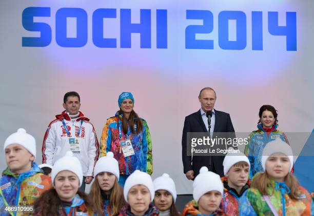 Russian Federation Chef de Mission Alexander Kravtsov Olympic Village Mayor Elena Isinbaeva and Russian President Vladimir Putin visit the Coastal...