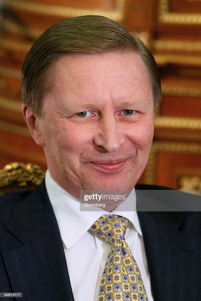 Russian Federation First Deputy Prime Minister Sergei Ivanov pauses during an interview in his office at the Russian White House in Moscow Russia on...