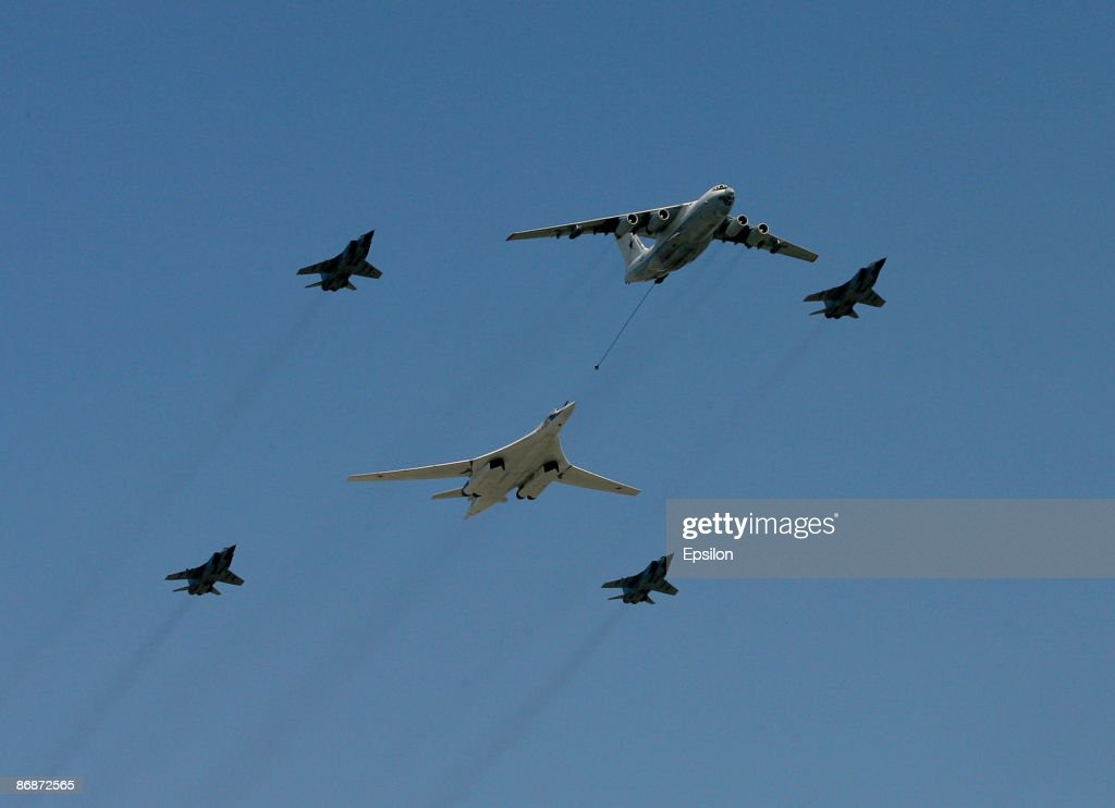 Russian fighter jets and strategic long-range bombers fly during the nation's Victory Day parade in commemoration of the end of WWII held at the Red Square on May 9, 2009 in Moscow, Russia. The ceremony commemorates Victory Day of May 9, 1945 on which the World War II Allies' achieved victory over and unconditional surrender of Nazi Germany's armed forces.