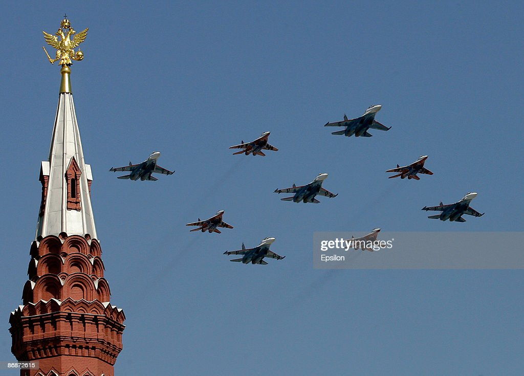 Russian fighter jets fly during the nation's Victory Day parade in commemoration of the end of WWII held at the Red Square on May 9, 2009 in Moscow, Russia. The ceremony commemorates Victory Day of May 9, 1945 on which the World War II Allies' achieved victory over and unconditional surrender of Nazi Germany's armed forces.