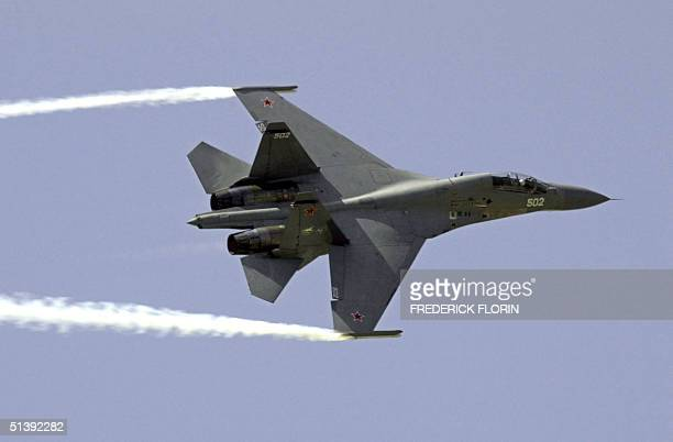 Russian fighter Sukhoi 30 MK flies over Le Bourget airport 21 June 2001 during the 44th ParisLe Bourget Air Show scheduled from 16 to 24 June AFP...