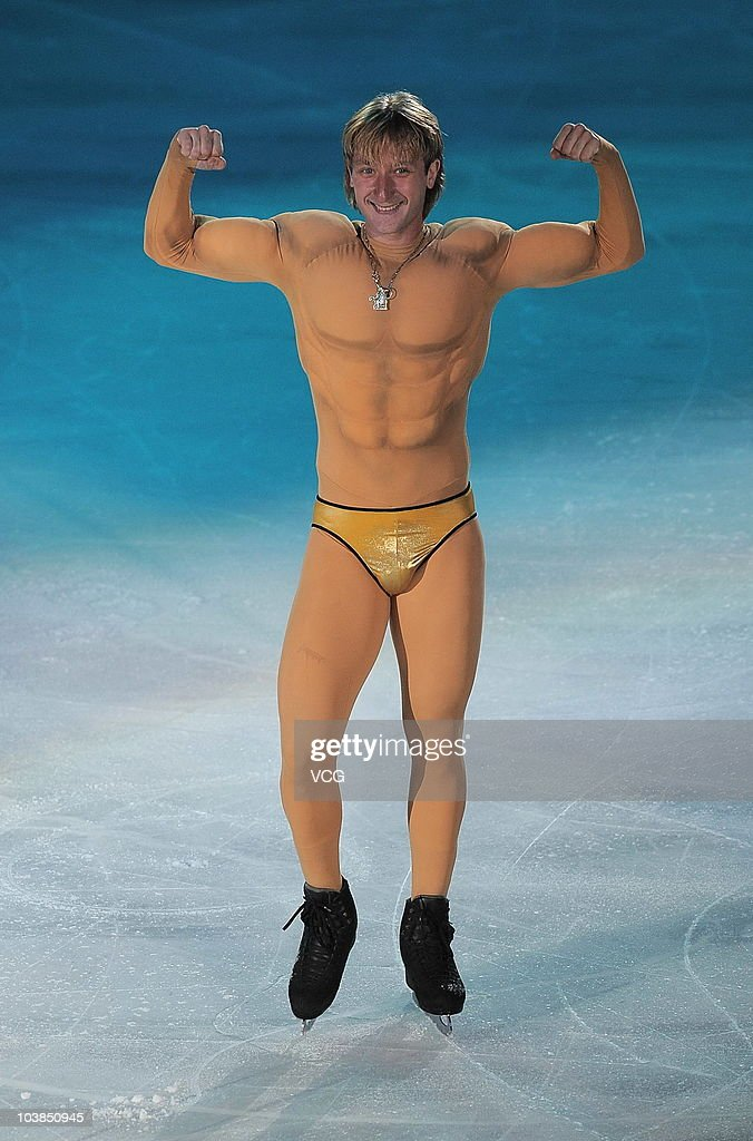 Russian figure skater <a gi-track='captionPersonalityLinkClicked' href=/galleries/search?phrase=Evgeni+Plushenko&family=editorial&specificpeople=211142 ng-click='$event.stopPropagation()'>Evgeni Plushenko</a> performs during the 2010 Figure Skating World Champion Show at the Capital Indoor Stadium on September 4, 2010 in Beijing, China. The show was being held as part of the long-delayed wedding party for China's first Olympic champion figure skaters Shen Xue and Zhao Hongbo.