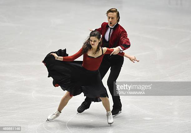 Russian figure skaters Elena Ilinykh and Ruslan Zhiganshin perform during the short dance of the ice dance event of the ISU World Team Trophy in...
