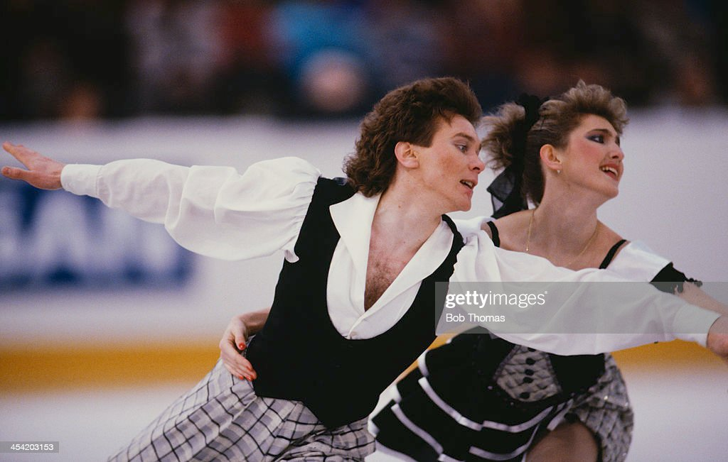 Russian figure skaters Marina Klimova and Sergei Ponomarenko during a performance at the European Figure Skating Championships, Birmingham, 17th - 22nd January 1989. The pair later went on to take the gold medal for the event.