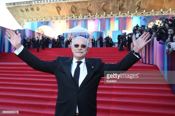 Russian film director Nikita Mikhalkov attends opening of the 39th Moscow International Film Festival outside the Karo 11 Oktyabr Cinema on June 22...