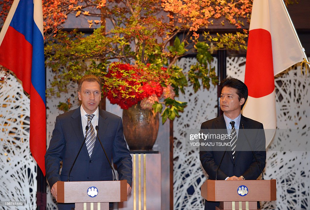 Russian First Deputy Prime Minister Igor Shuvalov (L) and Japanese Foreign Minister Koichiro Gemba address the media during a joint statement at the Iikura guesthouse in Tokyo on November 20, 2012. Both ministers attend the 10th meeting of the Japan-Russia Intergovernmental Committee on Trade and Economic Issues in Tokyo. AFP PHOTO / Yoshikazu TSUNO