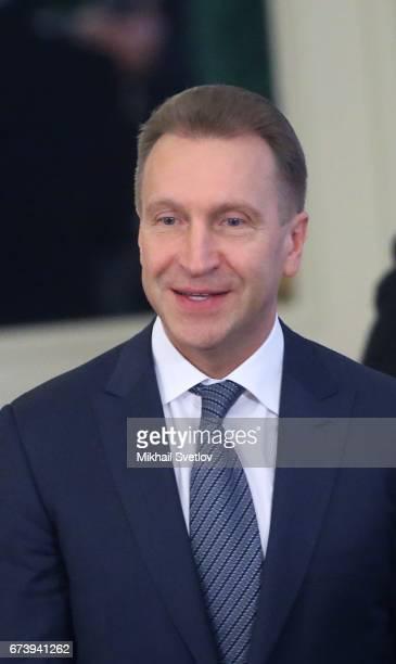 Russian First Deputy Prime Minister Igor Shuvalov attends talks between Russian President Vladimir Putin and Japanese Prime Minister Shinzo Abe at...