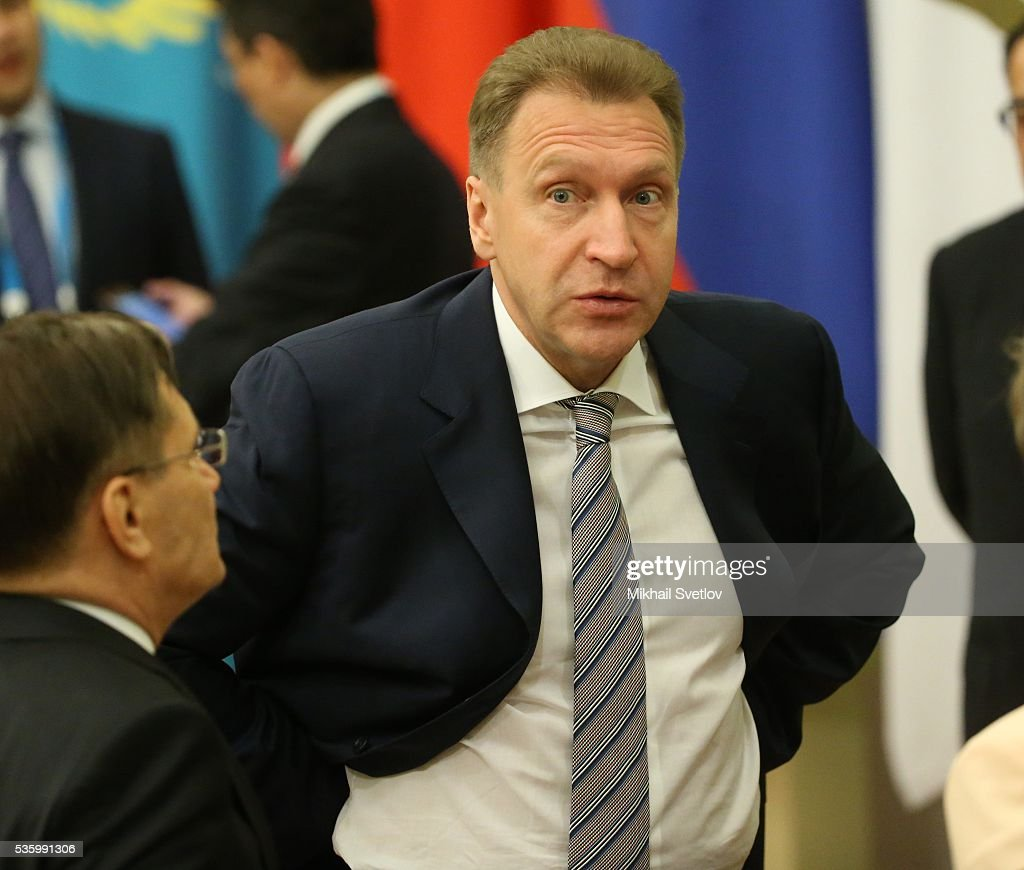 ASTANA, KAZAKHSTAN - MAY, 31 (RUSSIA OUT) Russian First Deputy Prime Minister Igor Shuvalov (C) is seen during the Eurasian Economic Union Summit at Akorda Palace on May 31, 2016 in Astana, Kazakhstan. Heads of the Eurasian Economic Union (EAEU) member states Russia, Belarus, Armenia, Kazakhstan and Kyrgyzstan have gathered in Astana for the summit. President Putin will also hold talks with Kazakh President Nursultan Nazarbayev.