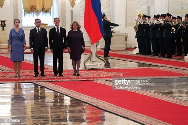 Russian First Lady Svetlana Medvedeva Armenian President Serzh Sargsyan Russian President Dmitry Medvedev and Armenian First Lady Rita Sargsyan...